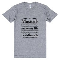 Musicals Make My Life Les Miserable-Unisex Athletic Grey T-Shirt