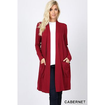 Slouchy Pocket Open Cardigan in Cabernet
