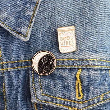 Trendy 2pcs/set Constellation Day and night Moon GOOD VIBES Bottle Brooch Pins Button Denim jacket Coat Collar Pin Badge Jewelry Gift AT_94_13