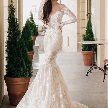 [208.99] Romantic Tulle & Lace Jewel Neckline Mermaid Wedding Dresses With Lace Appliques - dressilyme.com