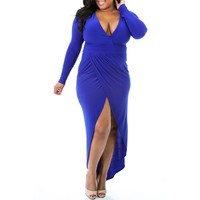 Sexy Plunging Neck Solid Color High-Low Hem Plus Size Long Sleeve Dress For Women