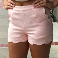 Pastel Scalloped Shorts {Blush}