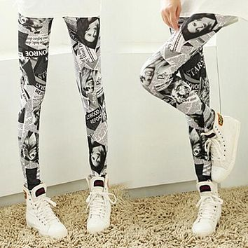 Women Fashion Punk Newspaper Printed Graffiti Stretchy   Pencil Skinny Pants