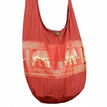BTP Hippie Hobo Cotton Sling Crossbody Bag Messenger Purse Elephant in Red EP10