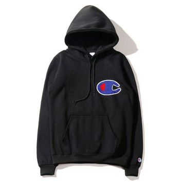 LMFOP7 Autumn And Winter Tide Brand New Champion Large C Embroidery Cotton Pullovers Loose Fleece Men And Women Hooded Sweater Coat Gray