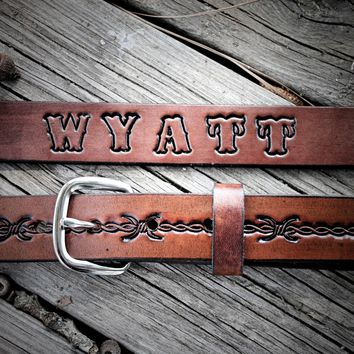 Kid's Leather Belt, BARBWIRE BELT, cowboy belt,Name Engraved Free!
