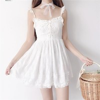 Summer luxury women's dress Japanese Harajuku vintage sweet girl super fairy lace vadim plus size white mini strap dress