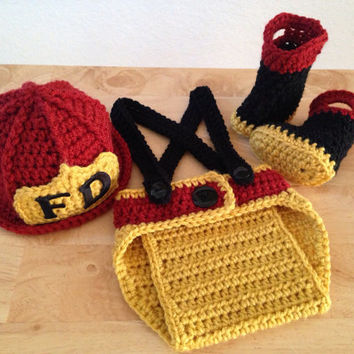 SALE! Baby Firefighter Fireman Hat, 4 pc Diaper Cover Set w/Suspenders & Boots, Photography Prop