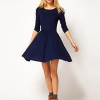 ASOS Skater Dress With 3/4 Ruched Sleeves at asos.com
