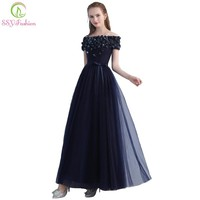 The Banquet Elegant Evening Dress Boat Neck Navy Blue Appliques Floor-length Formal Party Gown