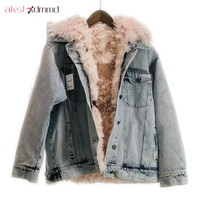 AKSLXDMMD Fashion Denim Fur Jacket Women Coat 2017 New Winter Thick Real Fur Cashmere Denim Jacket Overcoat Parkas Mujer LH1154