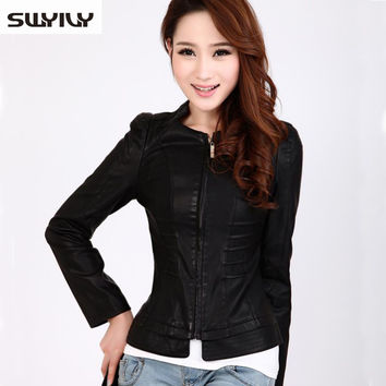 Leather Jacket Women 2015 Elegant Slim Sheep Skin Jackets,PU Leather Women Jackets Stand Collar Outerwear Size M-3XL