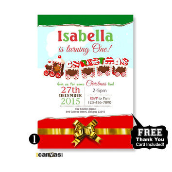 Halloween birthday invitation 1st first from 800canvas on etsy christmas birthday party christmas birthday invitation winter birthday invitation holiday birthday gingerbread filmwisefo Images