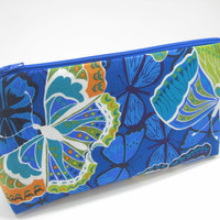 Butterfly Cosmetic Bag, Blue Zippered Accessory Pouch, Cosmetic Case, Pencil Case in Blue Butterfly Print, Ready to Ship