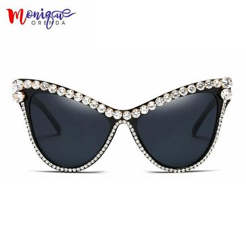 MONIQUE oversized Rhinestone sunglasses Sexy Women Designer Luxury Crystal Sun glasses for Female  black uv400