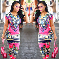 Dashiki Pink Two-Piece Set