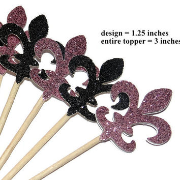 fleur de lis cupcake toppers, Paris bridal shower decorations, French theme, glitter, black and pink, New Orleans, mardi gras, food picks
