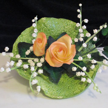 rose and lily of the valley cake topper bridal wedding edible sugar gumpaste yellow white shower birthday