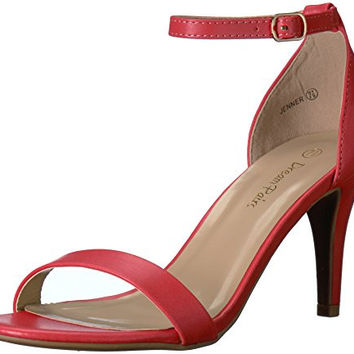 DREAM PAIRS Women's Jenner Dress Pump red heels with ankle strap