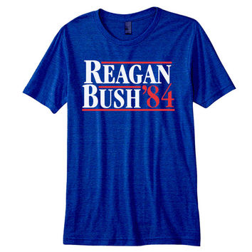 REAGAN BUSH '84 American Apparel tr401 - funny hip ronald george 1984 presidential election 84 new - Mens Indigo Tri Blend T-shirt DT0028