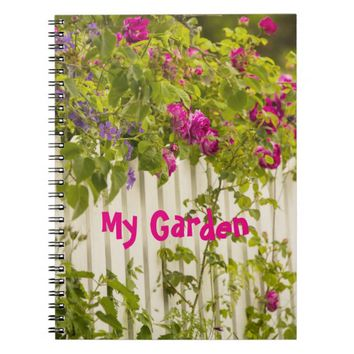 My Garden pink roses on a white garden fence Note Book