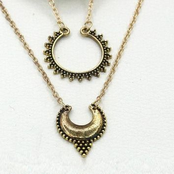 Gold Plated Double Half Moon Pendant Necklace