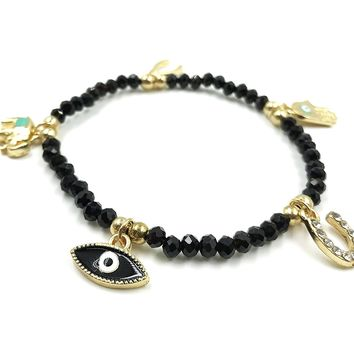 Womens Evil Eye Gold Charm Bracelet Black Beaded Kabbalah Jewelry for Good Luck