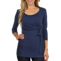 Wrap and Tie Polka Dot Print 3/4 Sleeves Nursing Top