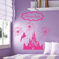 Disney Personalized Castle Fireworks Tinkerbell Fairy vinyl wall decall sticker room decor