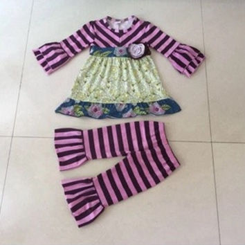 2pc Boutique Outfit GIGGLE MOON REMAKES-Meadows and Stripes,*CLOSES Nov 3rd* PREORDER #0019