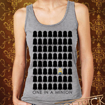 """One In A Minion-Row Women's Tank - Minion Tank - Despicable Me Design For Women Tanktop (Color Available-Print Size 12""""x12"""")"""