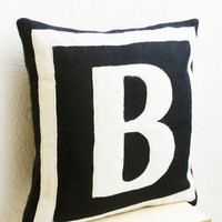 Customized Monogram throw pillow - Felt pillow cover - Navy blue ivory cushion covers - Gift - Felt monogram - Felt cushion -16x16 pillow