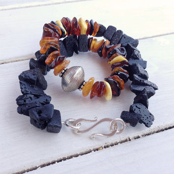 Lava Necklace, Baltic Amber and Black Raw Lava Rock Chunky Santorini Necklace, Big Statement Necklace, Lava Jewellery, Santorini Jewellery