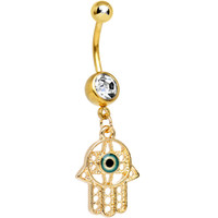 Clear Gem Gold Plated Protective Hamsa Hand Dangle Belly Ring | Body Candy Body Jewelry