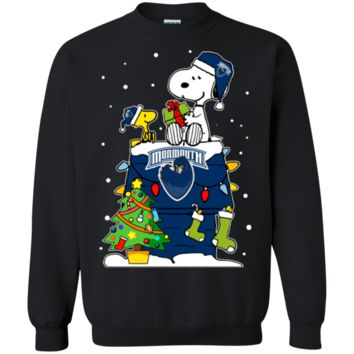 Cover your body with amazing Monmouth Hawks Ugly Christmas Sweaters Snoopy