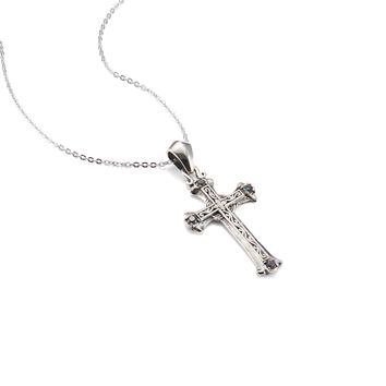 Scrollwork Cross Pendant Necklace with Stones