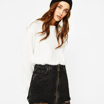 Frayed denim skirt with zip - Skirts - Bershka United States