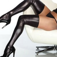 Glam Rock Gothic Wetlook Spandex Thigh High Women Black Sexy Latex Catsuit Stockings