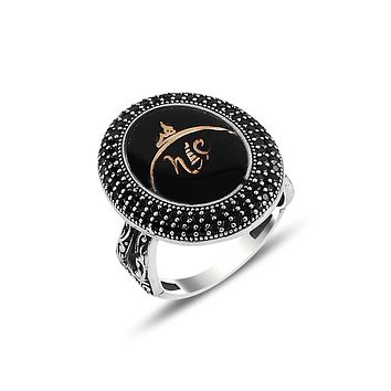 Womens ring 925 sterling silver with calligraphy black enamel and cz stones