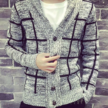 Light Gray Checked Pattern V-Neck Long Sleeve Cardigan