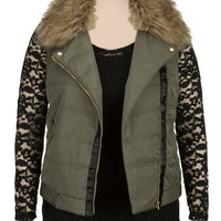 Plus Size - Olive Faux Fur Trim Puffer Vest - Green