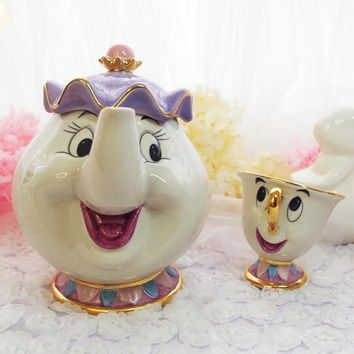 Cartoon Beauty And The Beast Old style Teapot Mug Mrs Potts Chip Tea Pot Cup One Set for friend Xmas gift