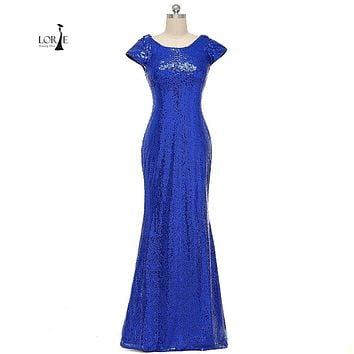 Sequin Prom Dress 2017 Scoop Cap Sleeve Mermaid Royal Blue Formal Bling Bling Evening Party Gowns Floor Length vestidos de baile