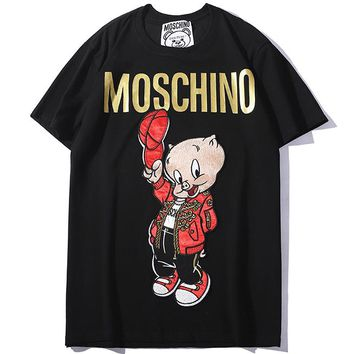 Moschino 2019 early spring new women's pig brother embroidered letters loose tops Black