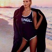 Fendi Fashion Sexy Vest Style U Collar Letter Print White Edge Black One Piece Bikini Swimsuit Swimwear Bathing