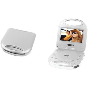 """SYLVANIA(R) SDVD7049-SILVER 7"""" Portable DVD Player with Integrated Handle (Silver)"""