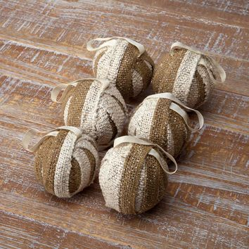 Shimmer Burlap Ornament Set of 6