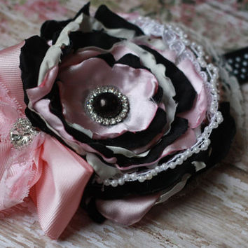 BABY HEADBAND, toddler girl, pink, black, white, dot, parisian, paris, chic, shabby, poodle,boutique,over the top, rhinestone, matilda jane