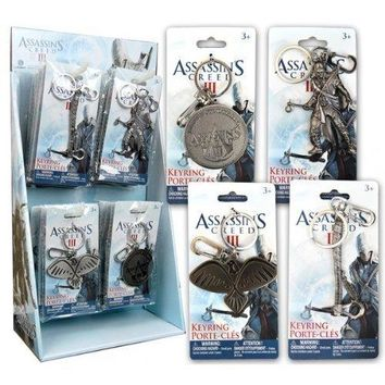 Official Assassins Creed Pewter Keyring Gift Set of 4 / Includes: Tomahawk , Connor , Eagle & Logo Keychains