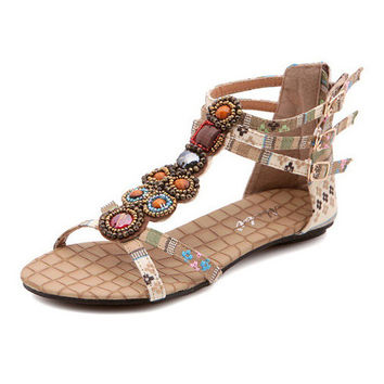 Women Boho Sandals Cover Flat Heel Beads Metal Buckle Rhinestone Bohemian Pattern Denim Upper Beach Shoes